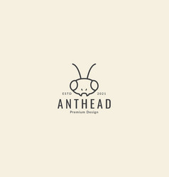 Insect ant head line simple logo symbol icon vector
