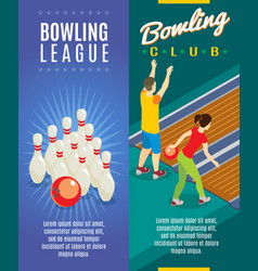 Isometric bowling game vertical banners vector