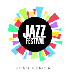 Jazz festival logo template colorful creative vector