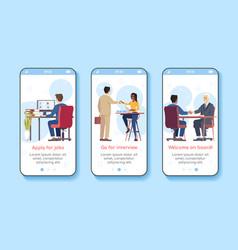 Job search onboarding mobile app screen template vector