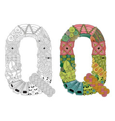 Letter q zentangle for coloring decorative vector