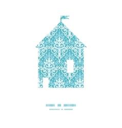 Light blue swirls damask house silhouette vector
