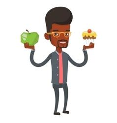 Man choosing between apple and cupcake vector