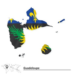 Map of Guadeloupe with flag vector image