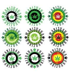 Marijuana cannabis hemp leaf symbol stamps vector