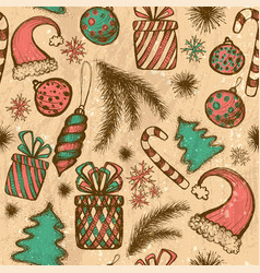 Merry christmas seamless pattern with sketched vector
