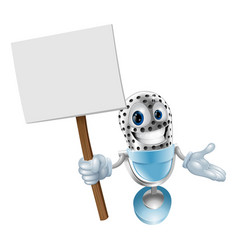 microphone character with sign vector image