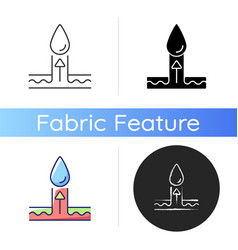 Moisture wicking fabric feature icon vector