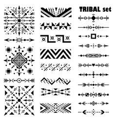 Monochrome modern set brush set in tribal style vector