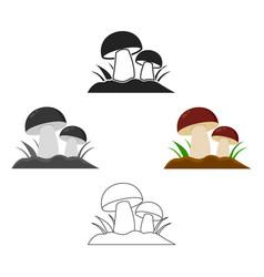 mushroom icon cartoonblack single plant icon vector image