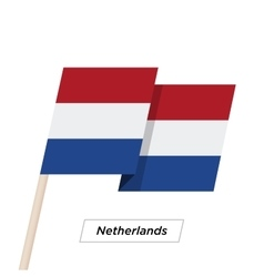 Netherlands Ribbon Waving Flag Isolated on White vector