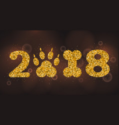 new year 2018 with symbol dog foot print and bone vector image