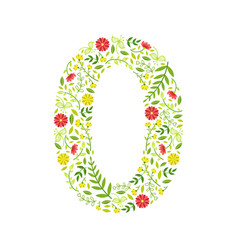 Number 0 green floral number made leaves and vector