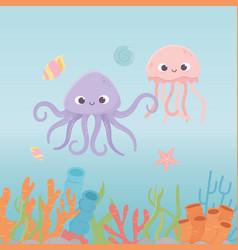 octopus jellyfish starfish life coral reef cartoon vector image