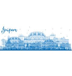 outline jaipur skyline with blue landmarks vector image