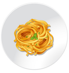 Pasta and vegetables on the plate vector
