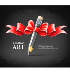 Pencil decorated by bow on vector