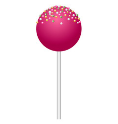 pink lollipop icon realistic style vector image