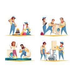 plumber work cartoon concept vector image