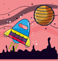 rocket visiting to jupiter planet in the space vector image