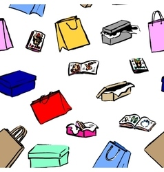 seamless background with gift boxes and shopping vector image