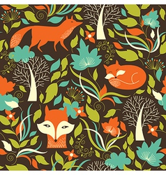 Seamless pattern with a foxes vector