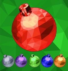 Set of triangle low polygonal Christmas balls vector image