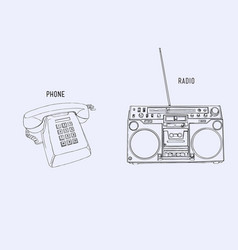 sey of retro phone and radio sketch line art vector image