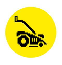 Silhouette of lawn mower flat icon in pixel style vector