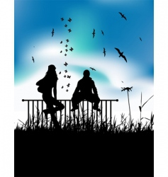 sitting on fence vector image vector image