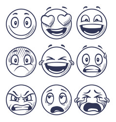 sketch smiles doodle smiley in different emotions vector image