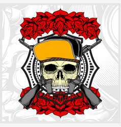 Skull wearing hat and weapon with rose vector