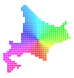 Spectral dotted hokkaido island map vector