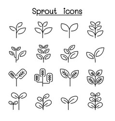 sprout treetop tree plant icon set in thin line vector image