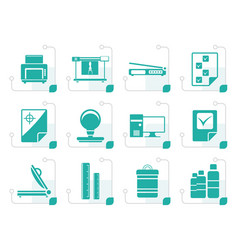 Stylized print industry icons vector