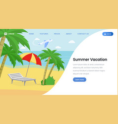 Summer vacation landing page template vector