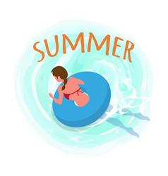 Summer woman swimming wearing lifebuoy seaside vector