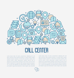 support service concept with thin line call center vector image