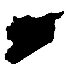 syria map silhouette in black on a white vector image