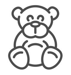 Teddy bear line icon plush toy vector
