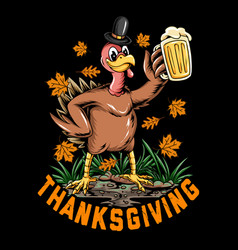 Thanksgiving holiday turkey holding a big glass vector