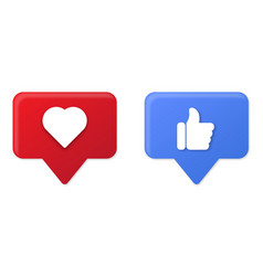 thumb up and heart icons vector image