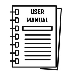user manual icon outline style vector image