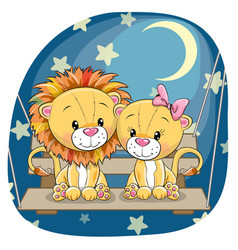 Valentine card with lovers lions vector