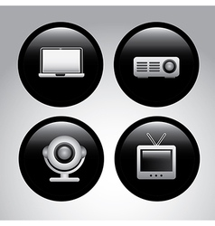 Video icons over gray background vector