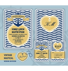 Vintage nautical anchor wedding invitation vector image