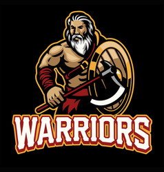 warrior mascot with shield and axe vector image