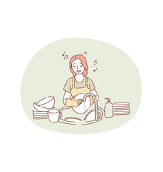 washing dishes housework cleaning concept vector image