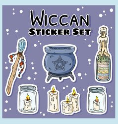 Wiccan stickers set collection witchcraft vector