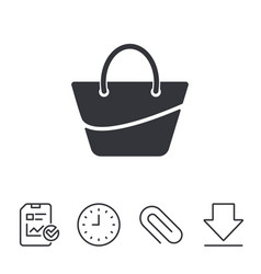 Woman bag icon female handbag sign symbol vector